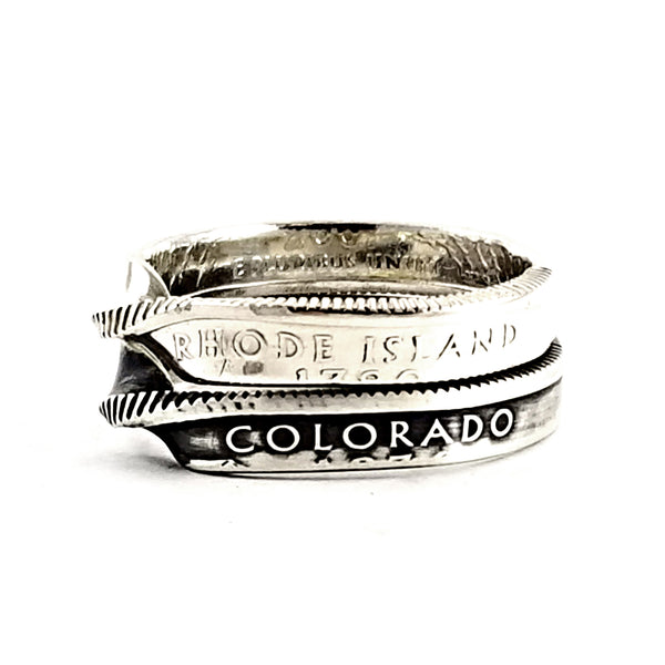 90% Silver State Quarter Twisted Coin Ring by midnight jo