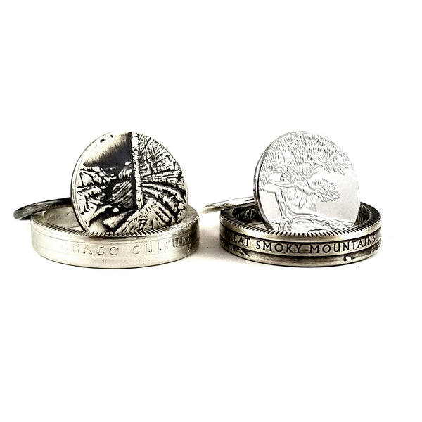 Silver National Park Narrow Band Coin Ring & Stacking Ring Set by midnight jo