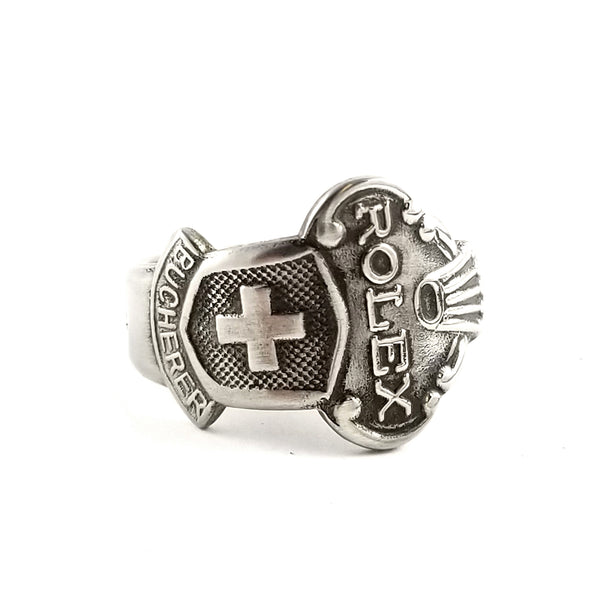 Rolex Swiss Cross Lucerne Stainless Steel Spoon Ring by Midnight Jo