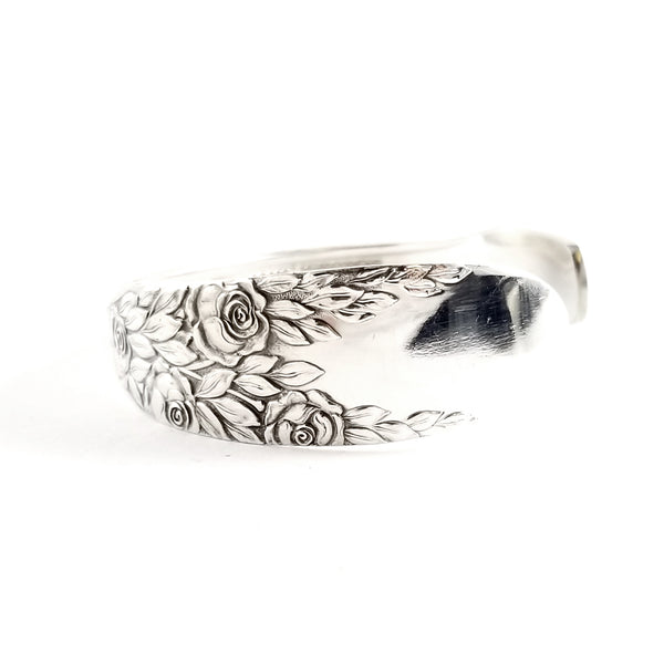 National Rose & Leaf silverplate Cuff Bracelett by Midnight Jo