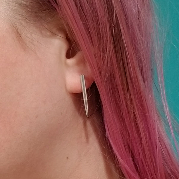Sterling Silver Fork Tine Bar Stud Earrings by midnight jo