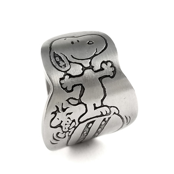 Snoopy & Woodstock on a Ball Danara Spoon Ring by Midnight Jo