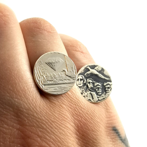 Silver State Coin Punch Out Stackable Ring by midnight jo