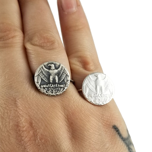 Silver Washington Quarter Stacking Coin Ring by midnight jo
