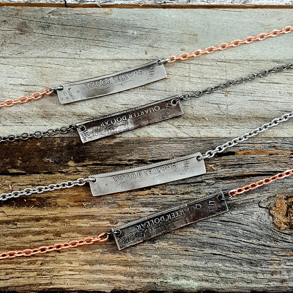 state quarter coin bar necklaces