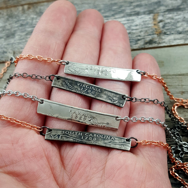 handmade state bar coin necklaces