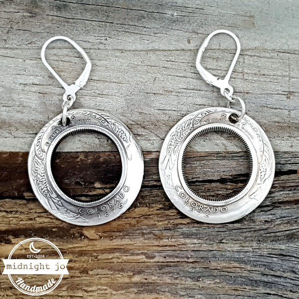 90% Silver State Quarter Inside Out Coin Earrings