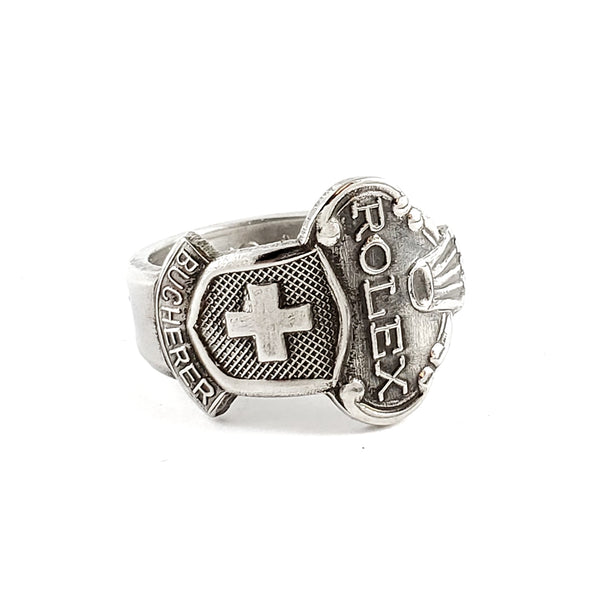 Rolex Swiss Cross Zermatt Stainless Steel Spoon Ring by Midnight Jo