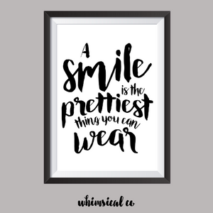 A Smile Is The Prettiest Thing A4 Print - Whimsical Co