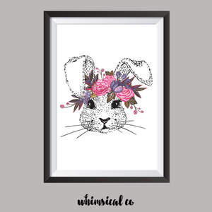 Flower Bunny A4 Print - Whimsical Co