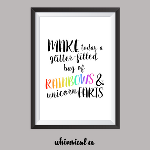 Make Today A Glitter Filled Day A4 Print - Whimsical Co