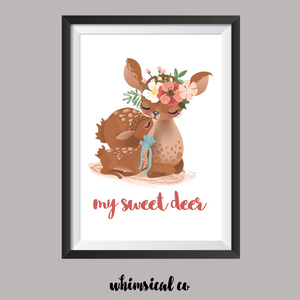 My Sweet Deer A4 Print - Whimsical Co