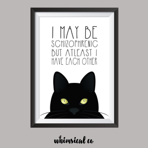 Schizophrenic Kitty A4 Print - Whimsical Co