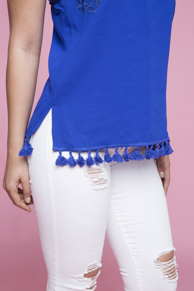 MIDNIGHT TASSEL TOP