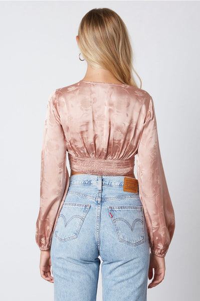 BLOSSOM SATIN FLORAL LONG SLEEVE CROP TOP