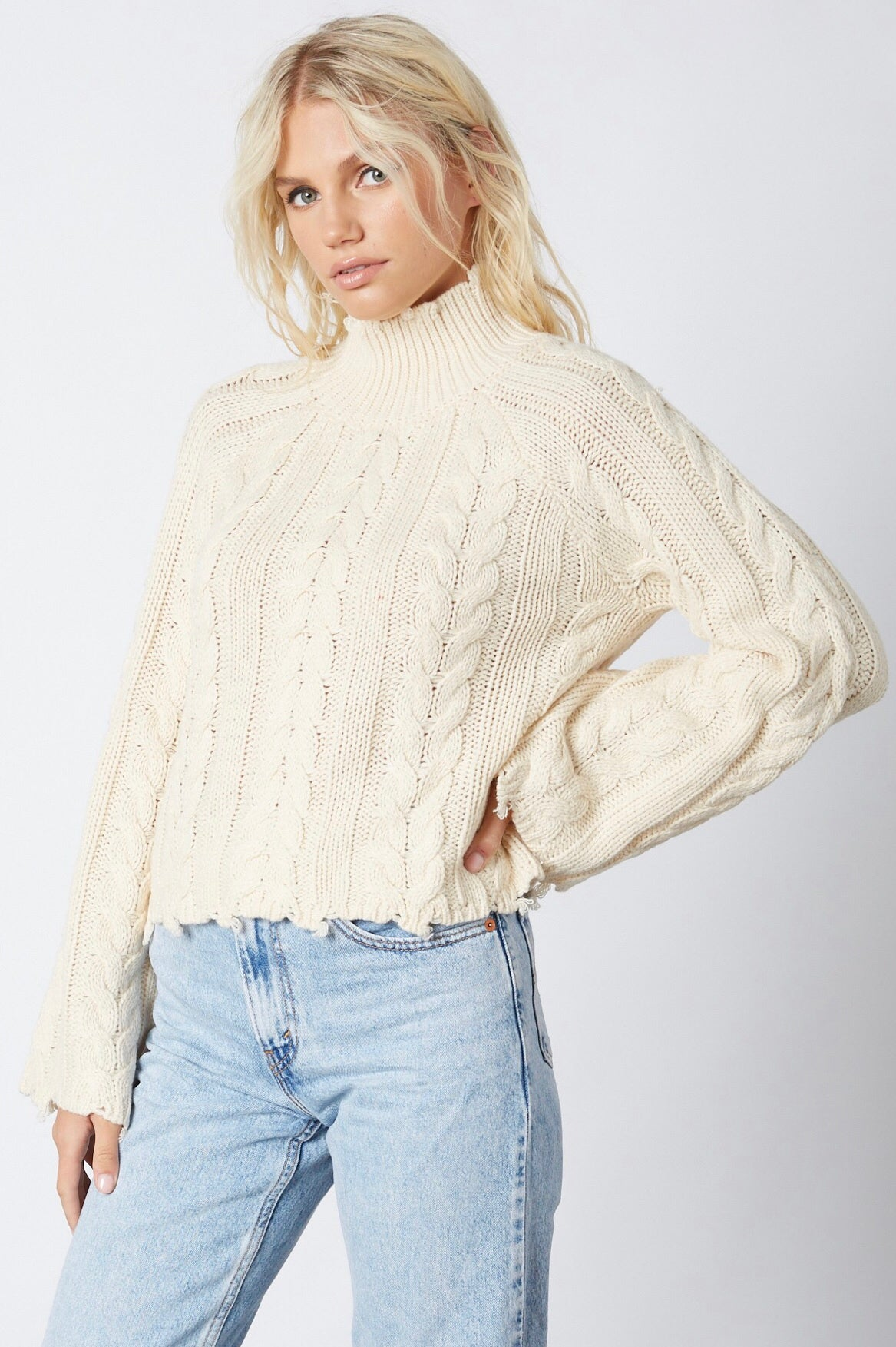 CLOUD 9 CABLE KNIT TURTLENECK CROPPED SWEATER - FINAL SALE