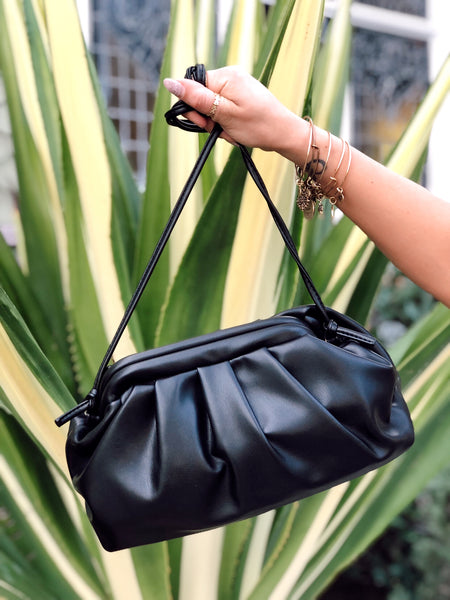 FAUX LEATHER DUMPLING BAG - BLACK