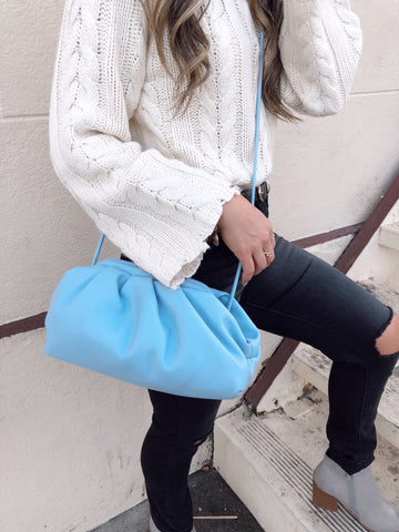 FAUX LEATHER DUMPLING BAG - POWDER BLUE