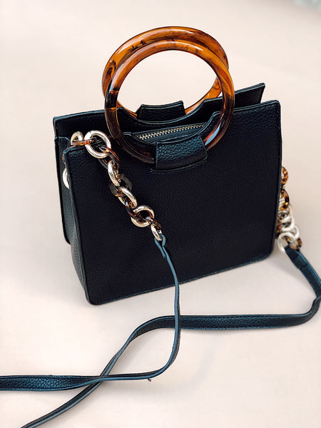 TORTOISE HANDLE SQUARE CROSSBODY - BLACK