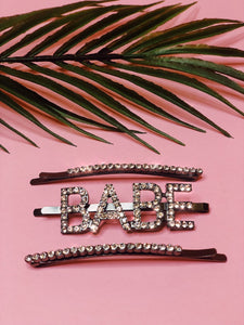 YOU'RE A BABE RHINESTONE HAIR PIN SET