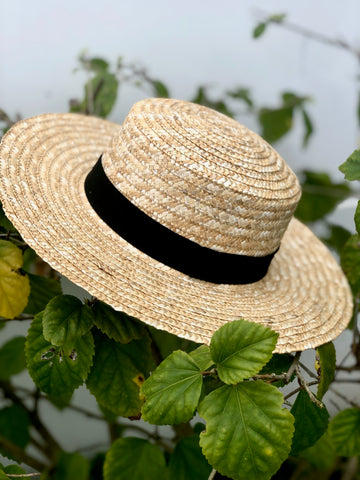 PALM BEACH STRAW BOATER HAT WITH BLACK RIBBON DETAIL