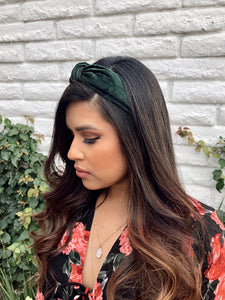 KARA VELVET KNOTTED HEADBAND (EMERALD GREEN)