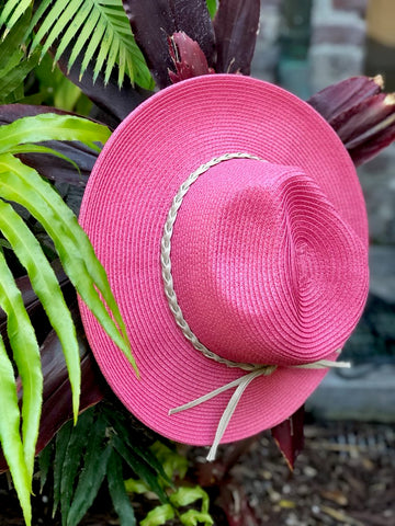 SUNSET LOVER WOVEN FEDORA HAT - DUSTY ROSE