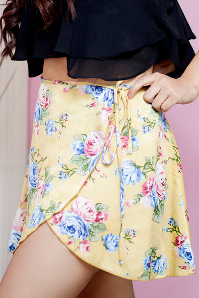 MADISON FLORAL MINI WRAP SKIRT