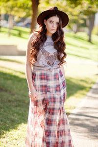 JAYDEN PLAID MAXI SKIRT