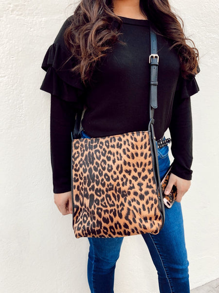 INTO THE WILD LEOPARD CROSSBODY