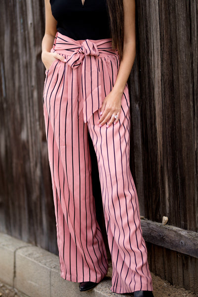CALABASAS STRIPED WIDE LEG PANT