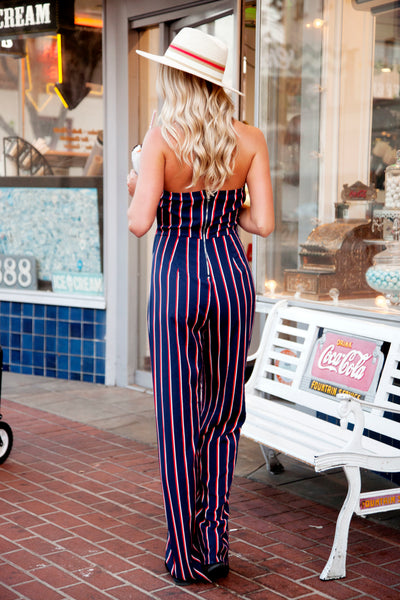 RODEO NIGHTS STRIPED JUMPSUIT - FINAL SALE