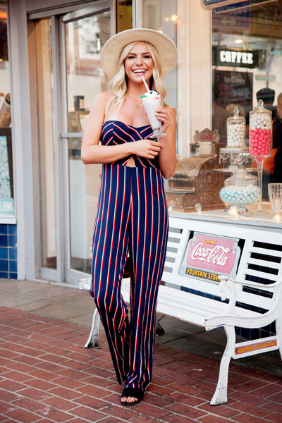 RODEO NIGHTS STRIPED JUMPSUIT