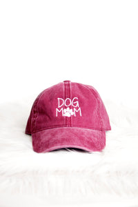 DOG MOM ACID WASH DAD CAP (BURGUNDY)