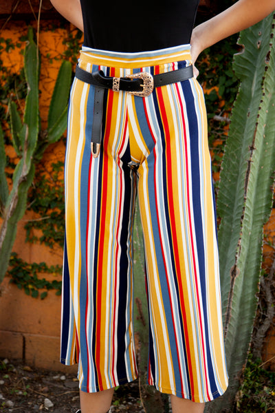 TASTE THE RAINBOW STRIPED CULOTTE PANTS