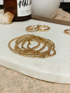 BEADED LAYERED BRACELET SET - GOLD
