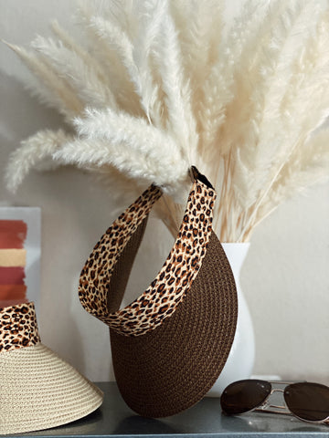 WILD THOUGHTS LEOPARD SUN VISOR - COCOA