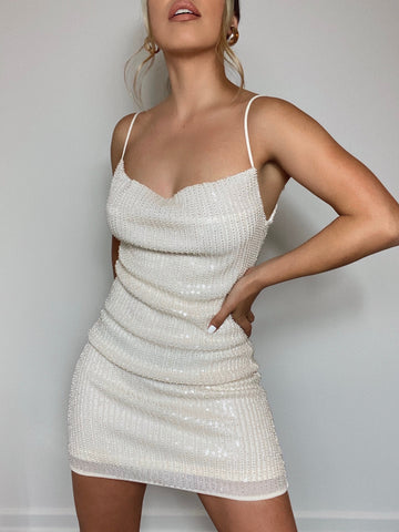 MOONLIGHT BEADED MINI DRESS