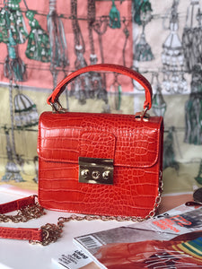 MANHATTAN MUSE FAUX CROC HANDBAG - RED