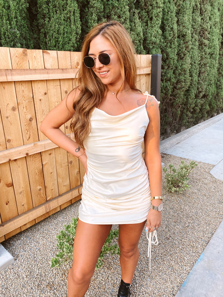 FOREVER YOURS IVORY SLIP DRESS