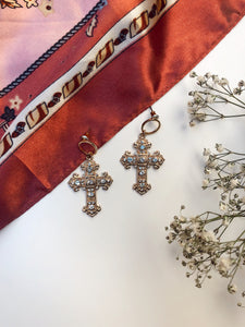 ANTIQUE RHINESTONE CROSS EARRINGS