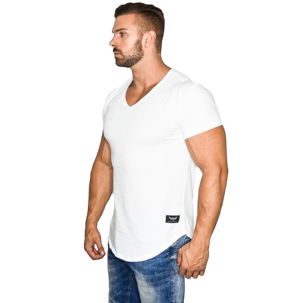 Alpha Fitted V-Neck - White