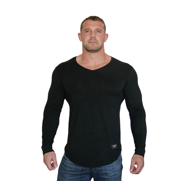 Alpha Long Sleeve V-Neck - Black