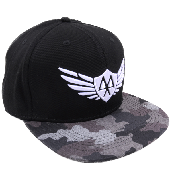 Black/Camo FlexFit Hat - White Wings Logo