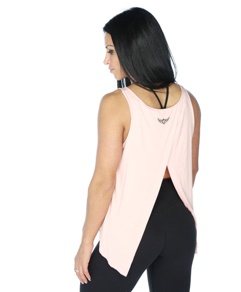 Womens Tie Up Tank - Peachy Pink