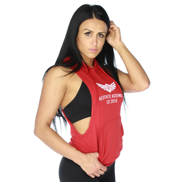 Deep Cut Sleeveless Hoodie - Unisex - Red