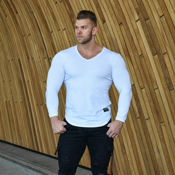 Alpha Long Sleeve V-Neck - White