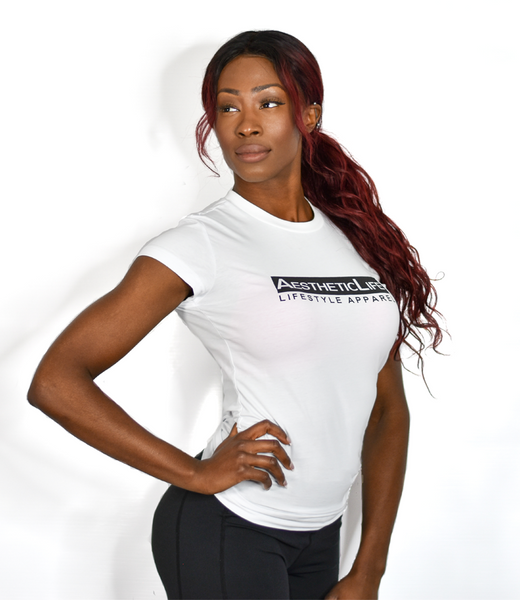 Womens AestheticLife Signature Crew - White