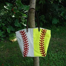 Half Baseball Half Softball Canvas Bag Tote