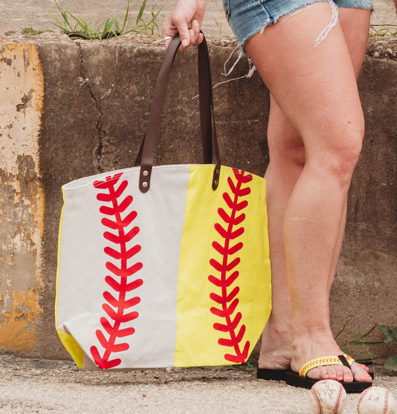Oversize Ball MOM Half Baseball Half Softball Canvas Bag Tote
